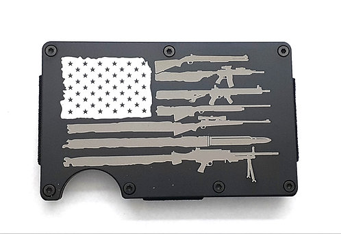 Minimalist RFID Wallet - US flag with Rifles