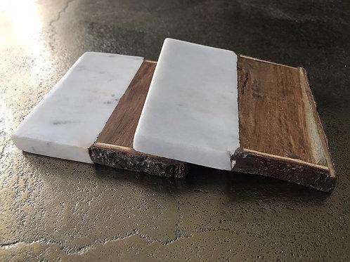 Onderzetters natuursteen/hout 4 stuks
