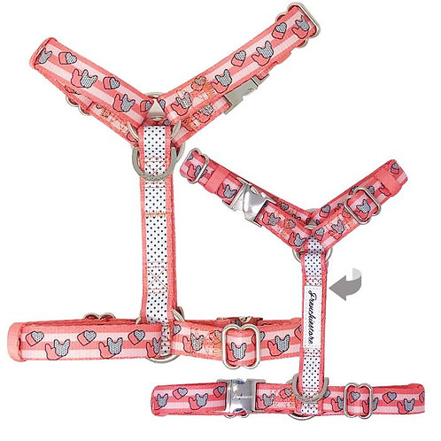Frenchiestore Adjustable Pet Health Harness | Frenchie Love in Pink