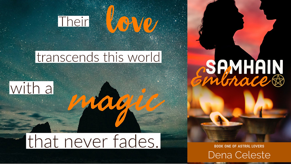 """""""Their love transcends this world with a magic that never fades."""" is the text next to the cover for Samhain Embrace."""