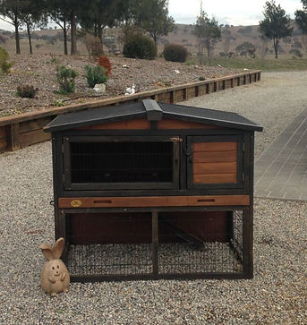 wood and metal rabbit hutch