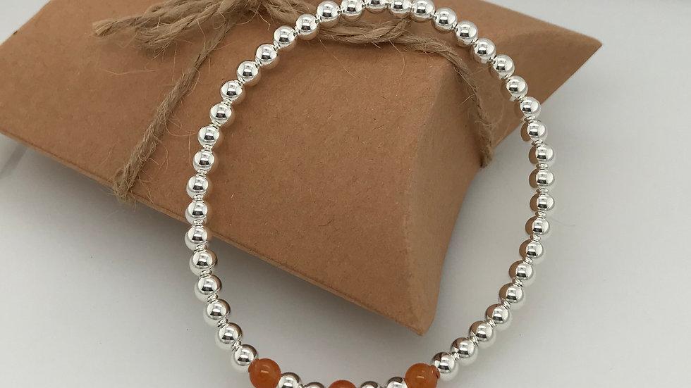 FJ Jewellery Peach Aventurine Bead Bracelet