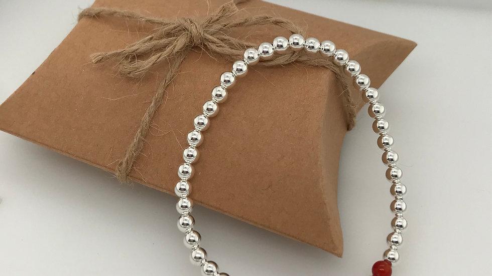 FJ Jewellery Red Agate Bead Bracelet