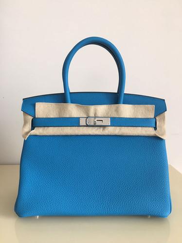 Hermes Birkin 30cm Verso Blue Zanzibar PHW