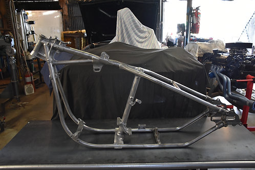 Panhead / Shovelhead Seamless Hardtail With Cast Axle Plates Fitted At DKG