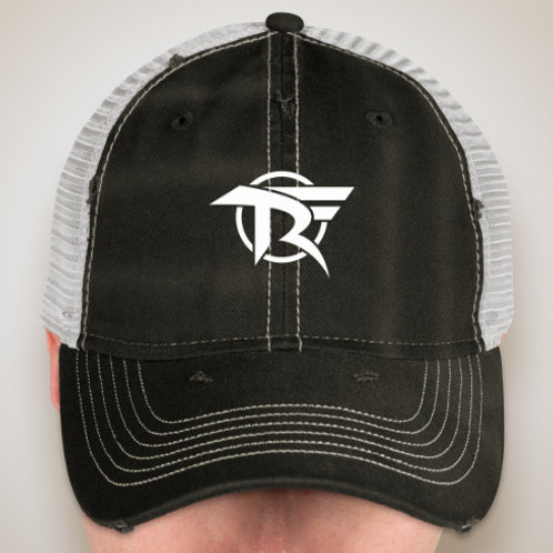 Black and White Weathered Trucker Cap
