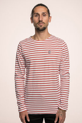 LONG SLEEVE STRIPED RED WHITE WITH DARK BLUE LOGO