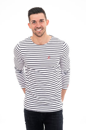 LONG SLEEVE STRIPED MARINE WHITE WITH RED LOGO