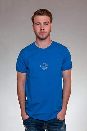 EARTHLOGO SHIRT SILVER ON BLUE