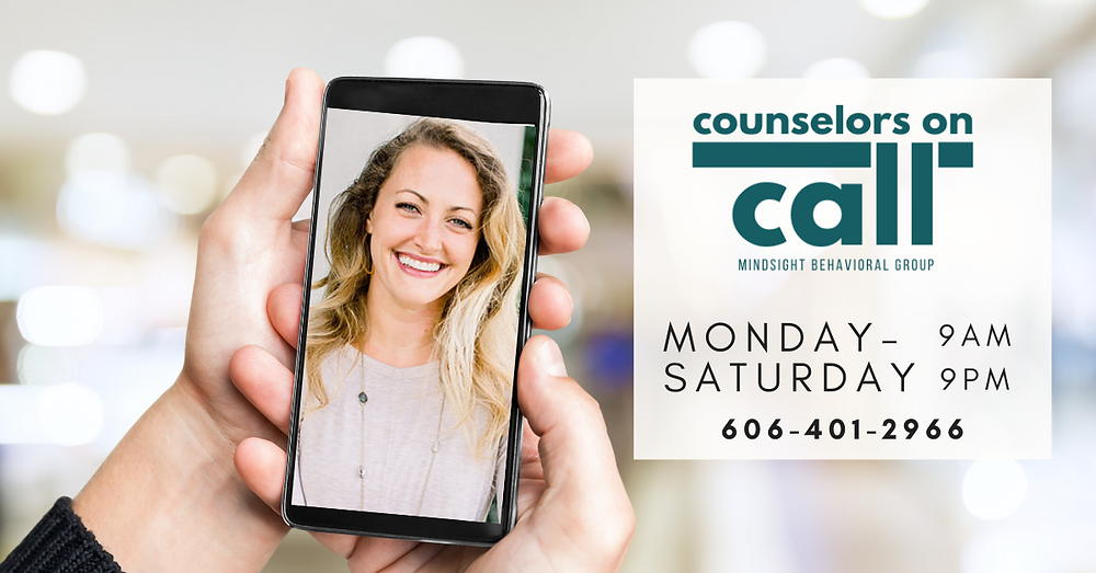 "Photo of an online therapist on a phone and the text ""Counselors on call"" with our hours and times.  We offer immediate help online or the phone Monday through Saturday 9am to 9pm. Call 606-401-2966 for mental health support during the coronavirus."