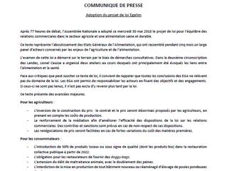 Communiqué de Presse suite à l'adoption de la loi Egalim.