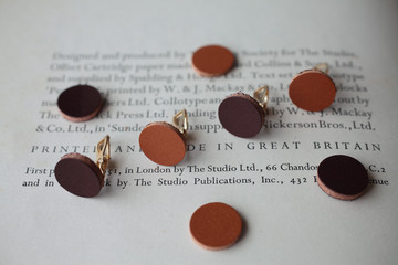 natural leather earring
