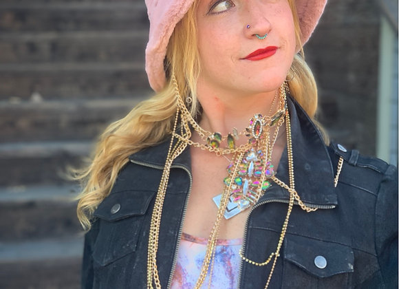 Furry Bucket Hat w/ Optional Necklace Chain