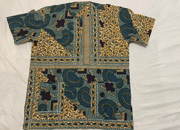 Short Sleeve Shirt - Cerulean/Yellow