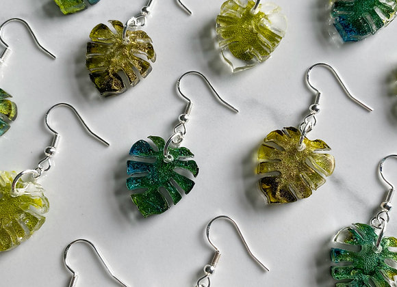 Small Monstera Earrings