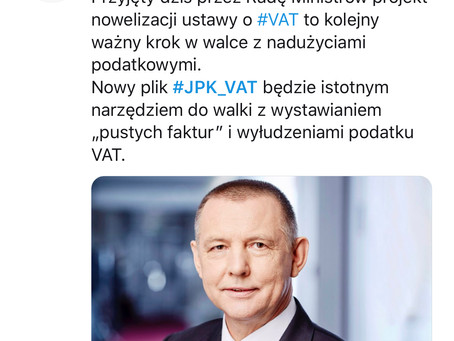Projekt ustawy o zmianie ustawy o VAToraz niektórych innych ustaw (dotyczy JPK_VAT)