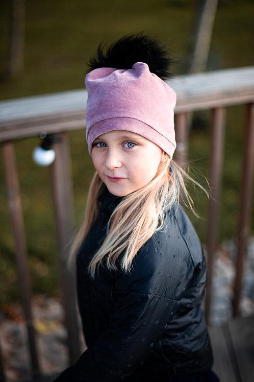 Kepurė su bumbulu ir mova light plum