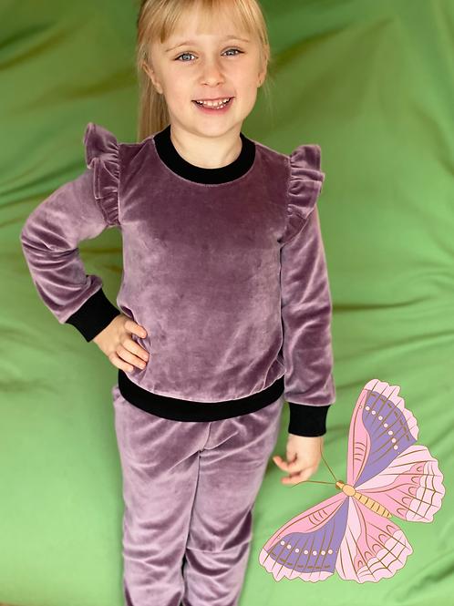 Veliūrinis kostiumėlis su sparneliais slyvinė