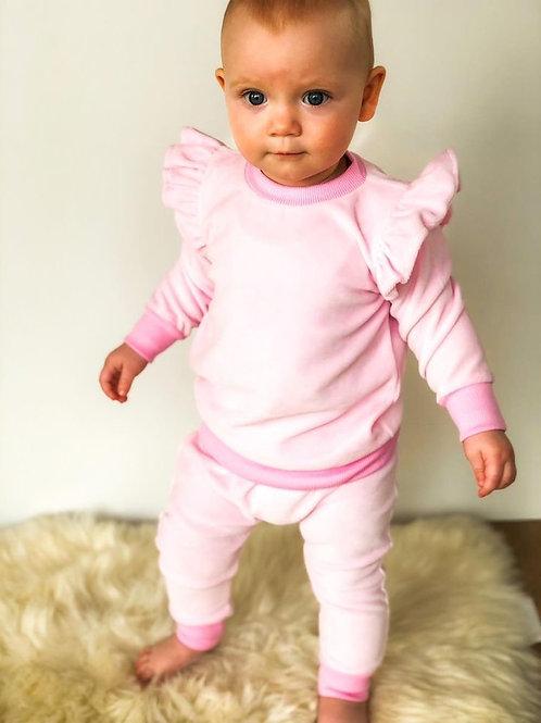 Veliūrinis kostiumėlis su sparneliais  baby pink