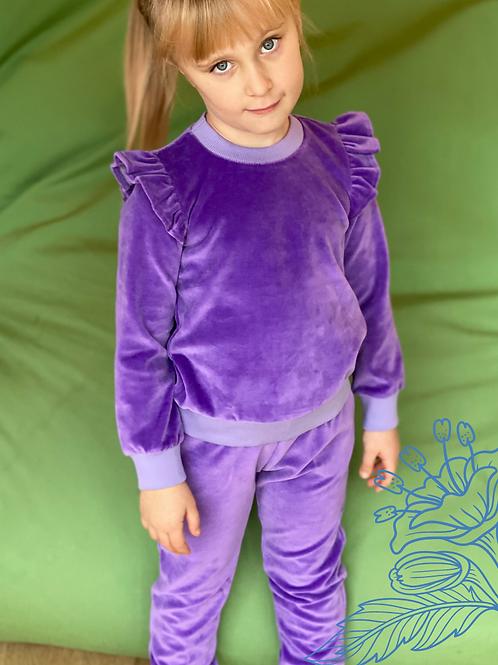Veliūrinis kostiumėlis su sparneliais violetinė