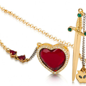 Disney by Couture Kingdom - Red Crystal Heart And Dagger Necklace