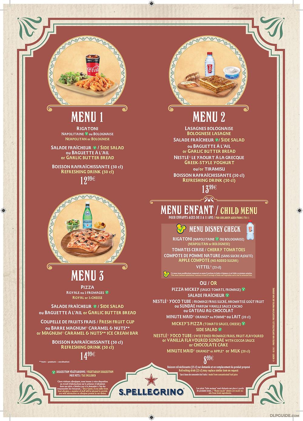 Colonel Hathi's Pizza Outpost Disneyland Paris menu