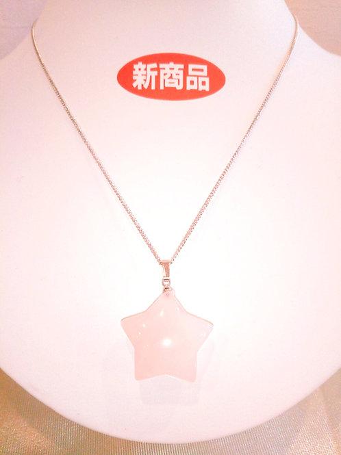 ローズクォ―ツ(ハート型)のペンダント