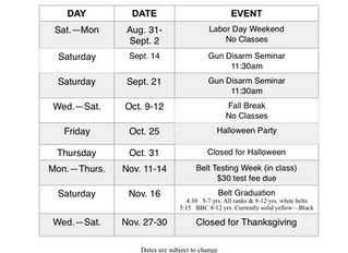 Fall Calendar of Events
