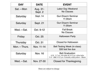 Fall Calendar of Events