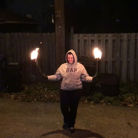 My first burn! It's not much (yet), but I did survive unscathed 😉_#burn #poi #firstburn #minneapolisfirecollective #firedancer #newbie #fire