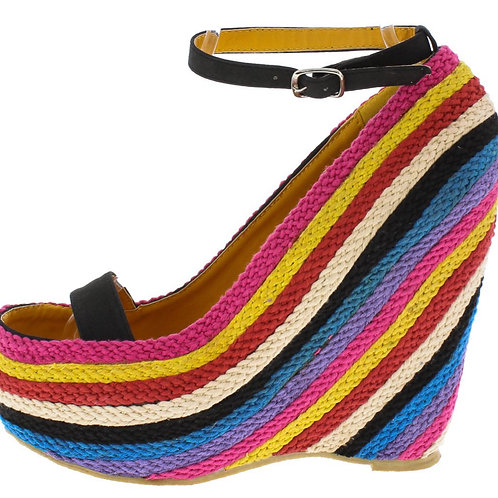 """""""Twisted"""" Braided Open Toe Wedge"""