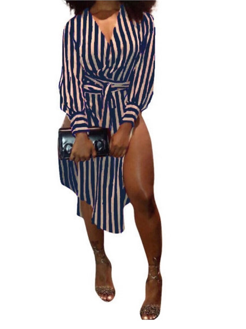 """About Business"" Navy Stripe Dress"