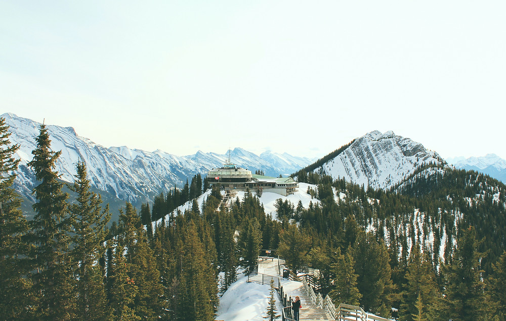 Amazing view of the snow-capped mountains and forests of Banff National Park in Alberta