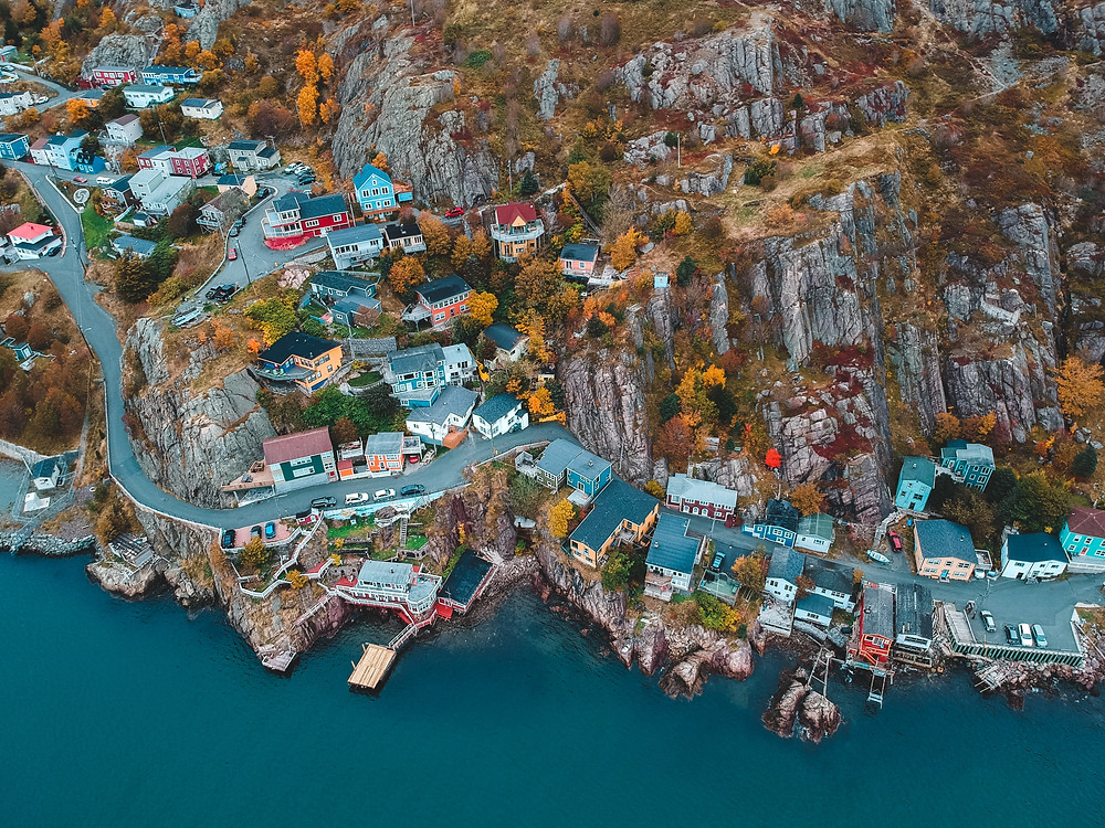 Colourful homes on the coast of Newfoundland