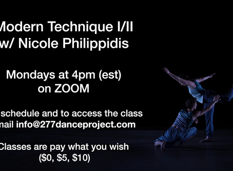 Modern Dance Class levels I/II on Zoom. Week of 4/6/20 - Free to Join!