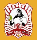 The Taco Shop, Greenwich Village NYC - logo shows lucha libre wrestler eating a taco
