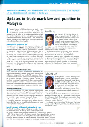 Updates in trade mark law and practice in Malaysia