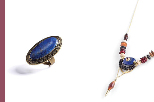 BAGUE OVALE GM en Lapis Lazuli