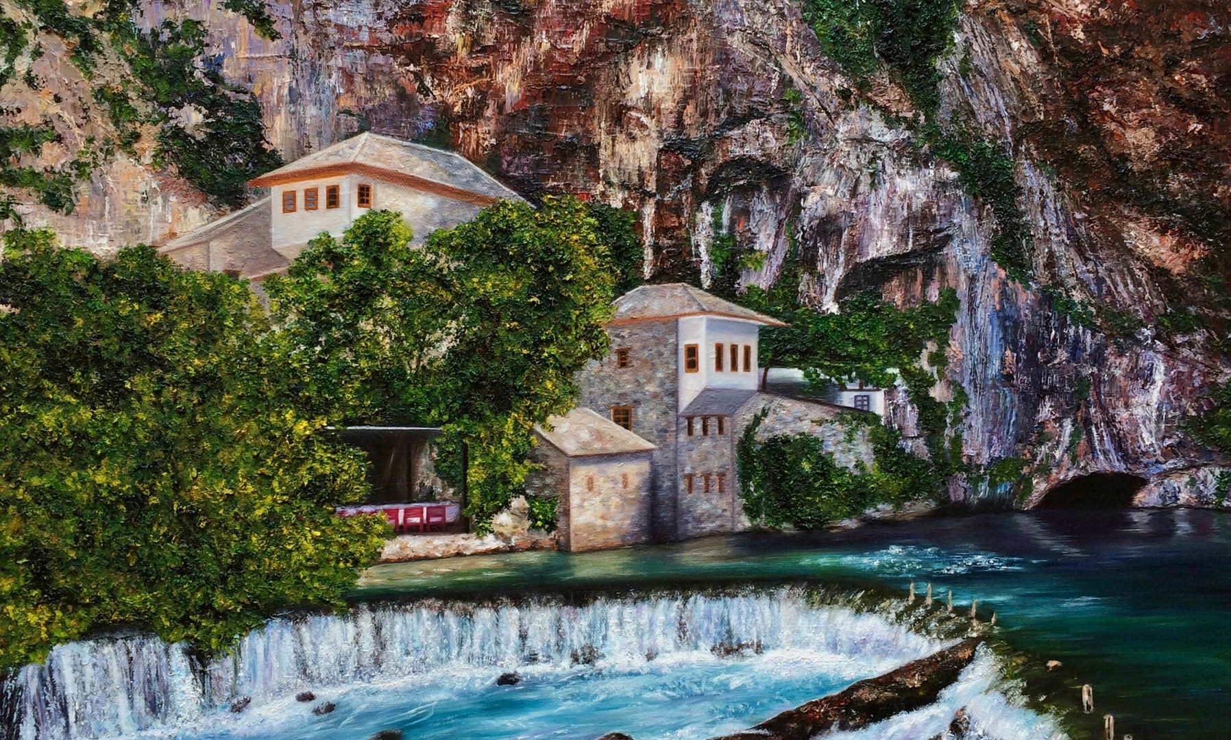 """Blagaj: A Cliffside Wonderment"" (2018) by Sherri Huang"