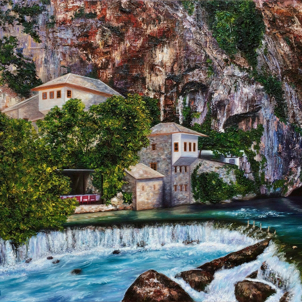 """Blagaj: A Cliffside Wonderment"" (2018) by Sherri Huang"