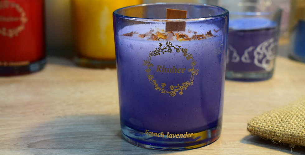 French Lavender candle Blue Jar