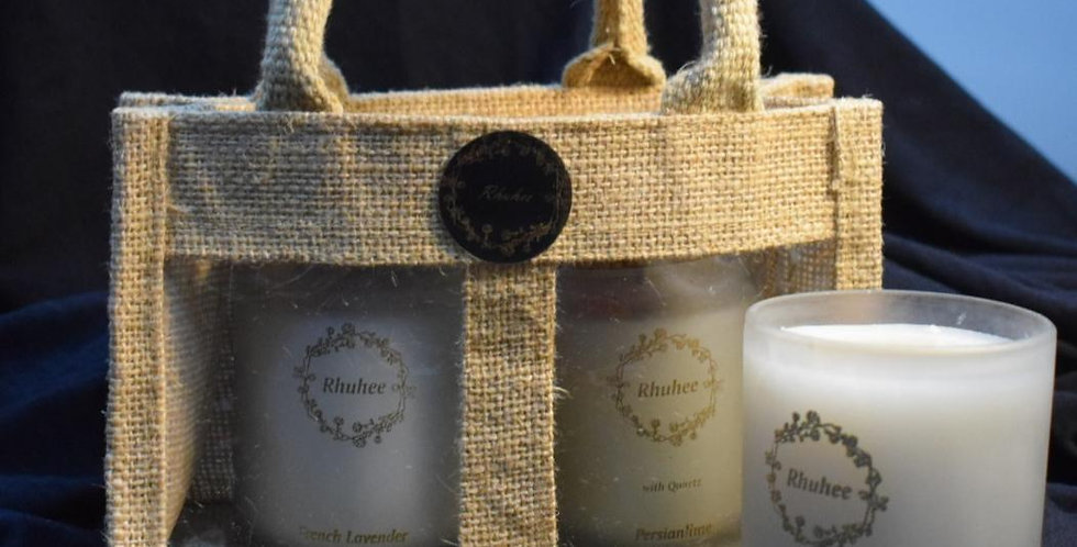 Set of two candles along with Jute Bag