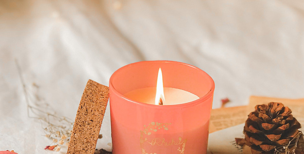 White blossom candle baby pink jar