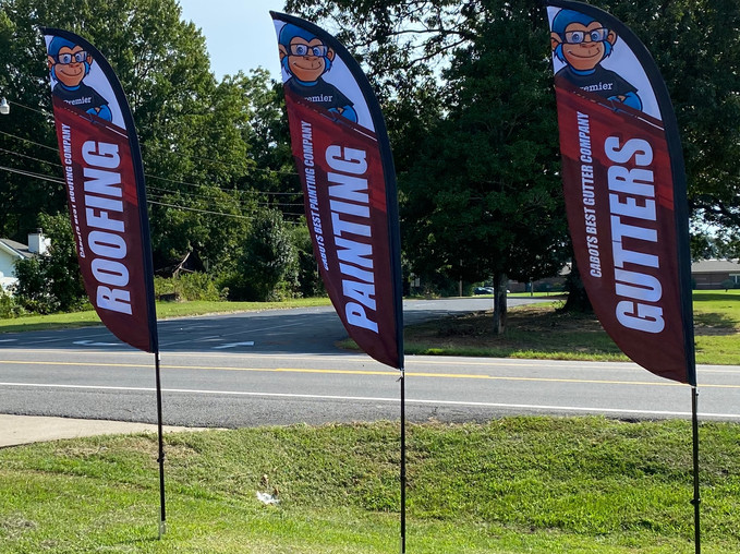 Look for our service flags by the Rd.