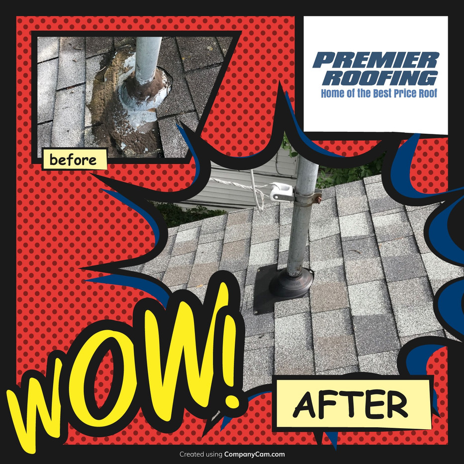 Before & After Pipe Flashing Repair