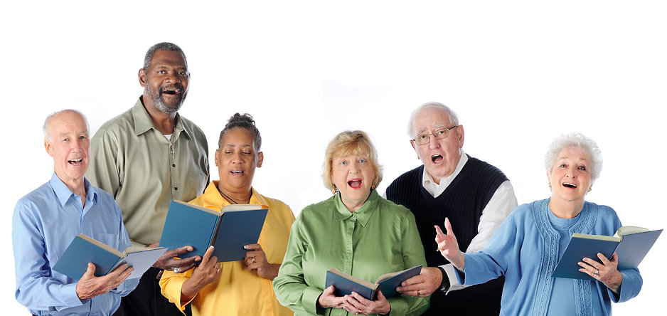 Six senior adults happily singing from s
