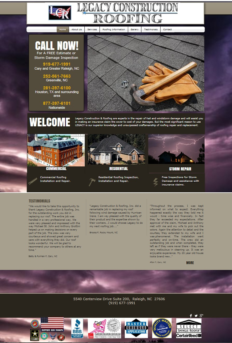 Legacy Roofing Website