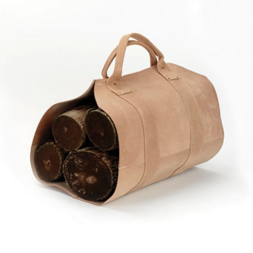 Rugged Cowhide, Leather Log Carrier