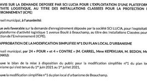 30/09/2021 - La mairie de Beauchamp modifie le PLU validant un projet ICPE