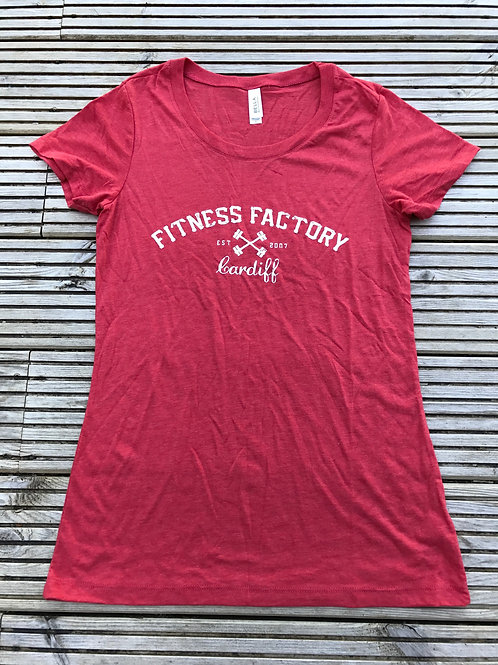 Ladies T Shirt Red Text